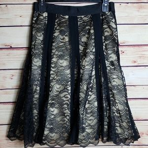 Apostrophe Black & Gold Lace Pleated Skirt